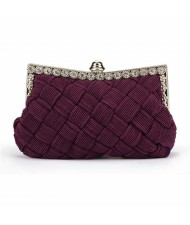Weaving Threads Pattern with Rhinestone Floral Decorations Fashion Evening Handbag/ Shoulder Bag - Purple