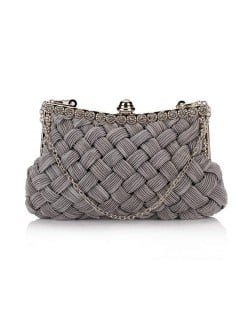 Weaving Threads Pattern with Rhinestone Floral Decorations Fashion Evening Handbag/ Shoulder Bag - Gray