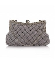 Weaving Threads Pattern with Rhinestone Floral Decorations Fashion Evening Handbag/ Shoulder Bag - Gray
