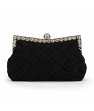 Weaving Threads Pattern with Rhinestone Floral Decorations Fashion Evening Handbag/ Shoulder Bag - Black