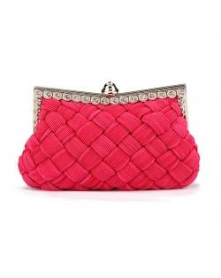 Weaving Threads Pattern with Rhinestone Floral Decorations Fashion Evening Handbag/ Shoulder Bag - Rose
