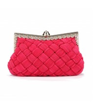 Weaving Threads Pattern with Rhinestone Floral Decorations Fashion Evening Handbag/ Shoulder Bag - Rose