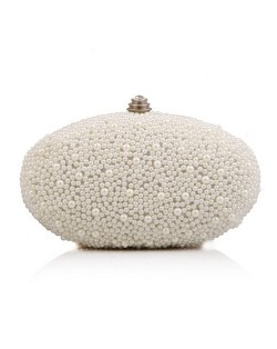 Luxurious Pearls All-over Design Oval Shaped Fashion Evening Handbag/ Party Shoulder Bag - White