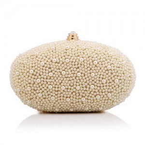 Luxurious Pearls All-over Design Oval Shaped Fashion Evening Handbag/ Party Shoulder Bag - Apricot