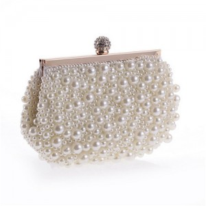 Delicate Pearls Beaded Fashion Evening Handbag - White