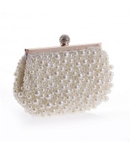Delicate Pearls Beaded Fashion Evening Handbag - White