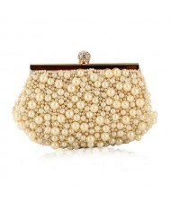 Delicate Pearls Beaded Fashion Evening Handbag - Apricot