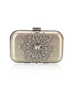 Luxurious Rhinestones Combined Sun Flower Attached Design Fashion Evening Handbag - Golden