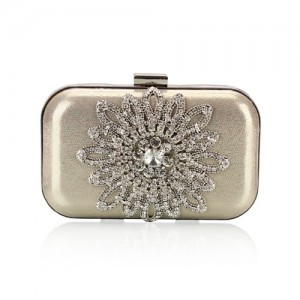 Luxurious Rhinestones Combined Sun Flower Attached Design Fashion Evening Handbag - Light Golden