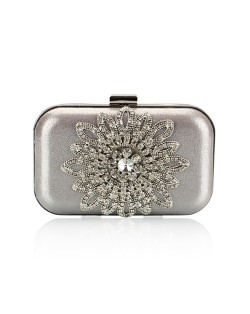 Luxurious Rhinestones Combined Sun Flower Attached Design Fashion Evening Handbag - Silver