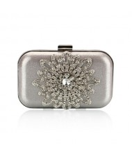Luxurious Rhinestones Combined Sun Flower Attached Design Fashion Evening Handbag - Silver