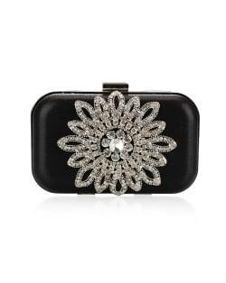 Luxurious Rhinestones Combined Sun Flower Attached Design Fashion Evening Handbag - Black