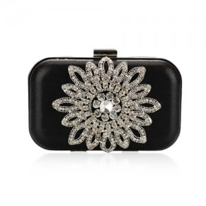 Luxurious Rhinestones Combined Sun Flower Attached Design Fashion Evening Handbag - Black