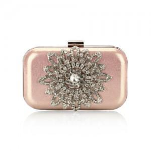 Luxurious Rhinestones Combined Sun Flower Attached Design Fashion Evening Handbag - Pink