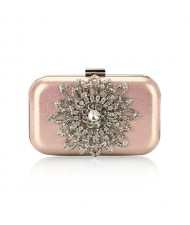 Luxurious Rhinestones Combined Sun Flower Attached Design Fashion Evening Handbag - Pink