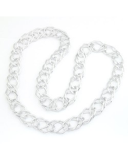 Long Chain Style Thick Chain Design Silver Color Necklace