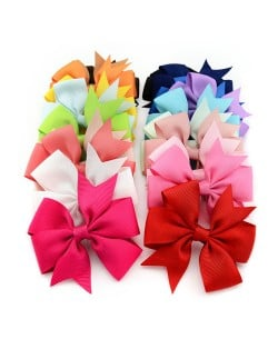 (20 pcs Per Unit) Fishtail Bowknot Fabric Tape Baby/ Toddler Hair Clip