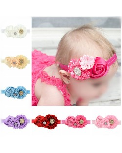 (8 pcs Per Unit) Rhinestone Inlaid Triple Roses Baby Fashion Hair Band