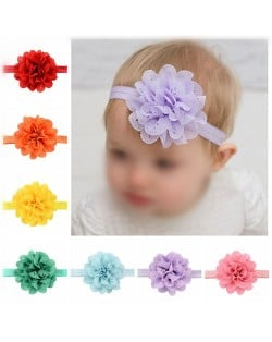 (16 pcs Per Unit) Wavy-edge Hollow Style Big Flower Baby Fashion Hair Band