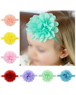 (12 pcs Per Unit) Big Chiffon Flower Attached Toddler/ Baby Fashion Hair Band