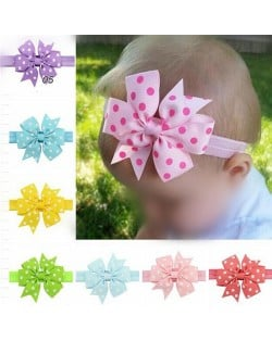 (20 pcs Per Unit) Polka Dot Fishtail Bowknot Baby/ Toddler Fashion Hair Band