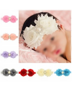 (12 pcs Per Unit) Pearl and Rhinestone Decorated Twin Flowers Design Baby Fashion Hair Band