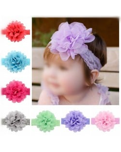 (12 pcs Per Unit) Big Chiffon Flower Attached Baby Fashion Lace Hair Band