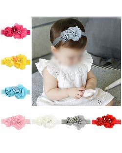 (12 pcs Per Unit) Chiffon Flowers Cluster Baby Fashion Hair Band