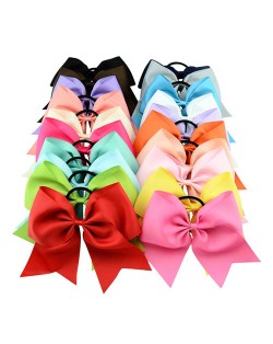 (20 pcs Per Unit) Candy Color Thread Tape Bowknot Toddler Fashion Elastic Hair Band