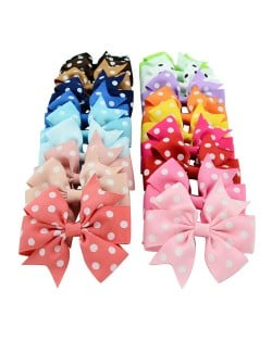 (20 pcs Per Unit) Polka Dot Handmade Bowknot Baby Fashion Hair Clip