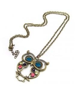 Vintage Three Colors Diamonds Embedded Night Owl Sweater Chain