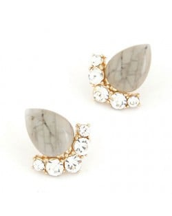 Fair Maiden Style Rhinestone and Opal Ear Studs - Gray