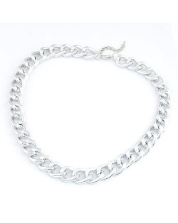Simple Metallic Thick Chain Fashion Necklace - Silver