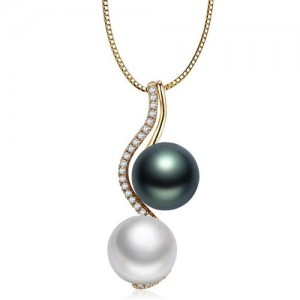 Elegant DesignTwin Pearl Decorated Necklace - Rose Gold