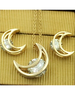 Rhinestone Inlaid Moon Fashion 18K Rose Gold Plated Necklace and Earrings Set