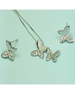 Rhinestone Embellished 18k Platinum Plated Butterfly Necklace and Earrings Set