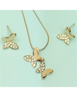 Rhinestone Embellished 18k Rose Gold Plated Butterfly Necklace and Earrings Set