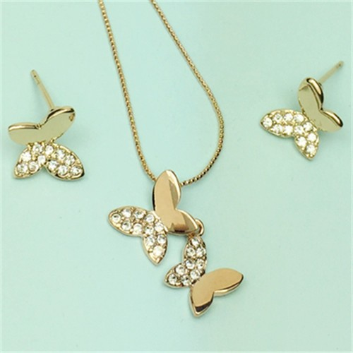 Rhinestone Embellished 18k Rose Gold Plated Butterfly Necklace and