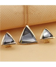 Rhinestone Triangle Pendant 18K Rose Gold Plated Necklace and Earrings Set - Gray