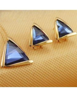 Rhinestone Triangle Pendant 18K Rose Gold Plated Necklace and Earrings Set - Blue