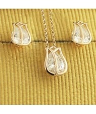 Austrian Crystal Inlaid Tulip Rose Gold Necklace and Earrings Set