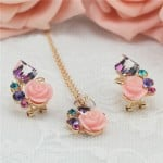 Transparent Cubic with Roses Design Rose Gold Necklace and Earrings Set