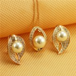 Austrian Rhinestone and Pearl Embellished Leaf Fashion Rose Gold Necklace and Earrings Set