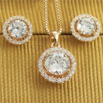Austrian Crystal and Rhinestone Inlaid Hollow Floral Design Luxurious Rose Gold Necklace and Earrings Set