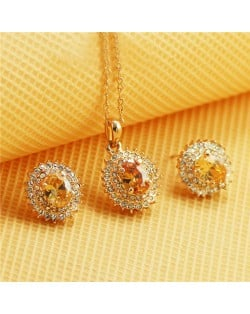 Austrian Crystal Inlaid Gorgeous Sun Flower Pendant Rose Gold Necklace and Earrings Set - Champagne