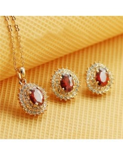 Austrian Crystal Inlaid Gorgeous Sun Flower Pendant Rose Gold Necklace and Earrings Set - Red