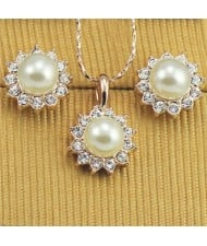 Pearl Centered Sun Flower Design 18k Rose Gold Plated Necklace and Earrings Set