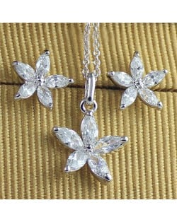 Crystal Five Petals Flower 18k Platinum Plated Necklace and Earrings Set