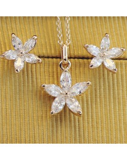 Crystal Five Petals Flower 18k Rose Gold Plated Necklace and Earrings Set