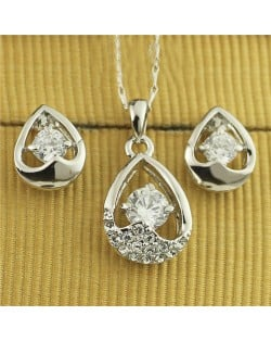 Austrian Rhinestone and Crystal Embellished Hollow Waterdrop Design Platinum Plated Necklace and Earrings Set